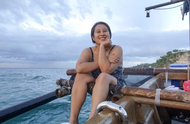 travelbeib in the sunset ship bali island girl sunset vibes